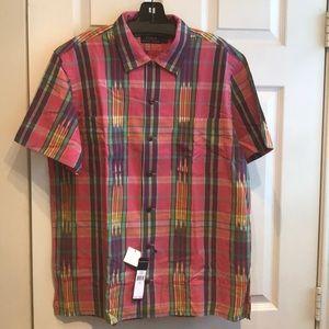 RALPH LAUREN Pink Plaid S/S Cotton Shirt Men's L